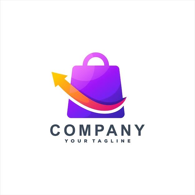 Стрелка продаж градиентный дизайн логотипа Premium векторы