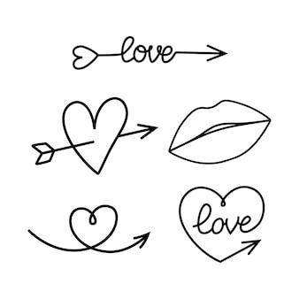화살표는 사랑 요소를 설정합니다. 벡터 일러스트 레이 션 흰색 배경에 고립입니다.