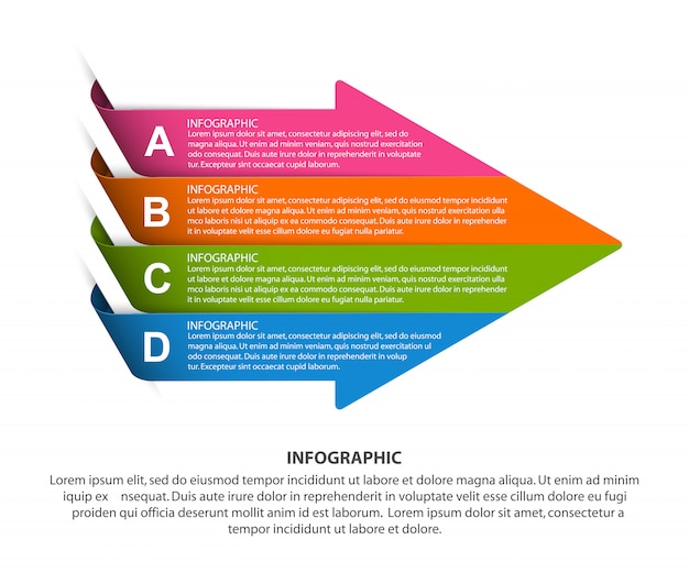 Arrow shaped infographic template.