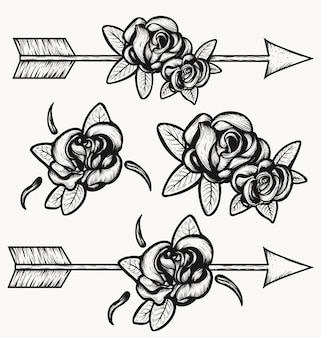 Стрелка стрельба через розы иллюстрации.