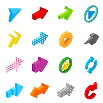 Arrow sign isometric 3d icons set
