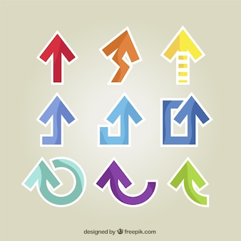 Sticker collection freccia con diverse forme e colori