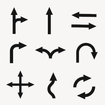 Adesivo freccia, vettore di segnale stradale di traffico in set di design piatto nero