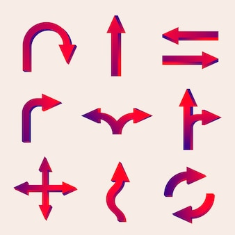 Наклейка со стрелкой, вектор дорожного знака движения в наборе с красным градиентом