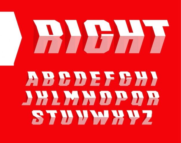 矢印スタイルの文字セット。方法アルファベットを指しています。
