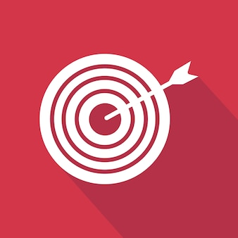 Arrow and target icon. flat icon with long shadow design collection.