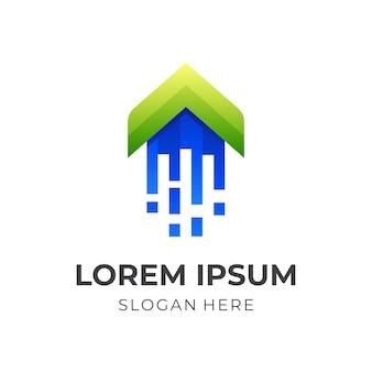 Логотип arrow tech, стрелка и технология, комбинированный логотип с трехмерным зеленым и синим цветовым стилем