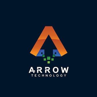 Arrow technology with pixel shape logo design