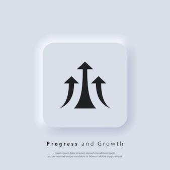 Значок стрелки вверх. значок производительности, прогресс. увеличение, логотип со стрелкой. вектор. значок пользовательского интерфейса. белая веб-кнопка пользовательского интерфейса neumorphic ui ux. неоморфизм