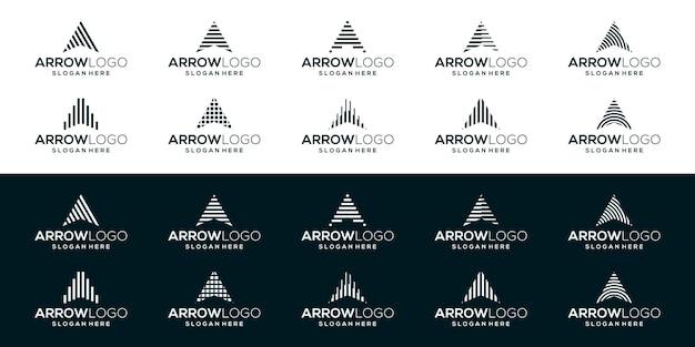 上矢印ロゴ。幾何学的な縞模様の矢印の形の頭文字a。