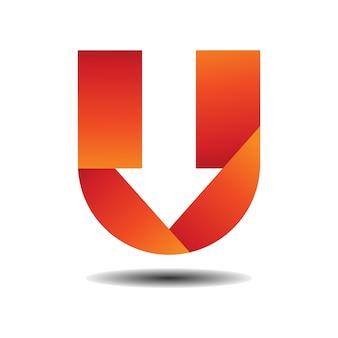 Arrow with letter u logo