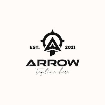 Стрелка для стрельбы из лука из лука на открытом воздухе винтаж битник шаблон логотипа, изолированные на белом фоне