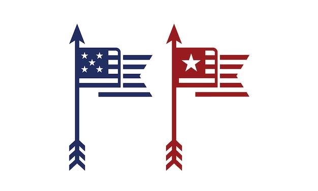 Arrowhead and us flag
