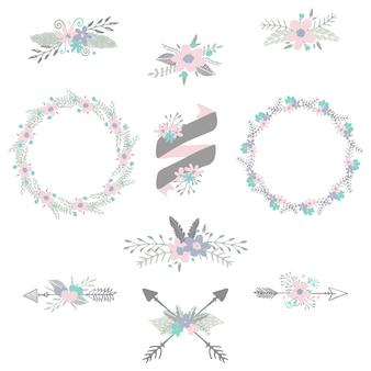 Стрелки и ленты с цветами