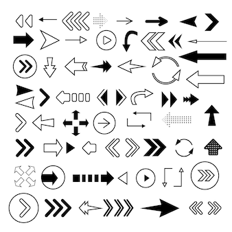 Arrows big black set icons. arrow icon. arrow  collection. modern flat arrows isolated on white background.