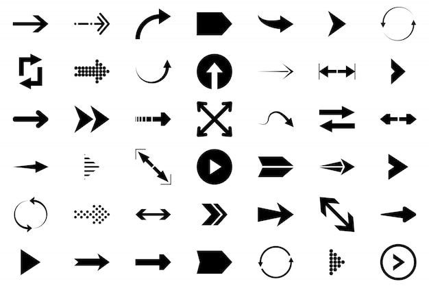 Стрелки большой черный набор иконок. значок стрелки