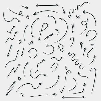 검은 화살표 벡터. 손으로 그린 화살표, 그래픽 디자인의 집합입니다. 삽화.