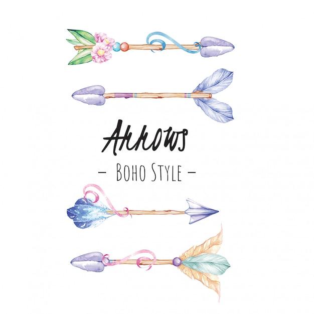 Arrows boho watercolor illustration