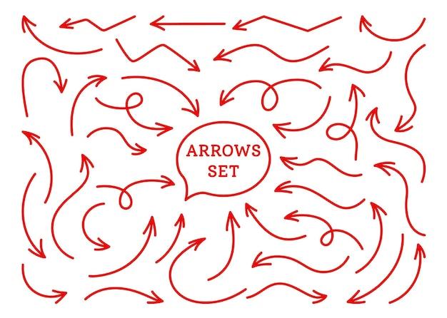 화살표 밝은 빨간색 infographic 라인 세트 만화 다른 방향 포인터 컬렉션 다양한 곡선