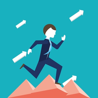 Arrows and businessman running for the success over blue background, colorful design vector illustra