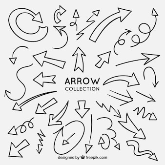 Arrows collection to mark in hand drawn style
