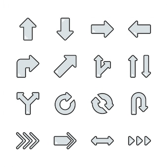 Arrows in colorline icon set