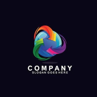 Цикл стрелок со сферой для дизайна логотипа технологии