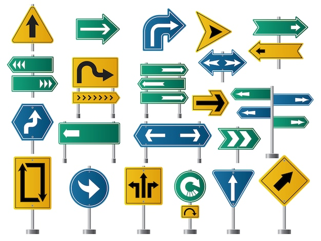 Arrows direction. road signs for street or highway traffic navigation pictures of arrows