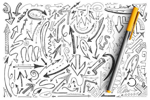 Arrows doodle set. collection of different shape round twisted hand drawn arrowhead computer cursors