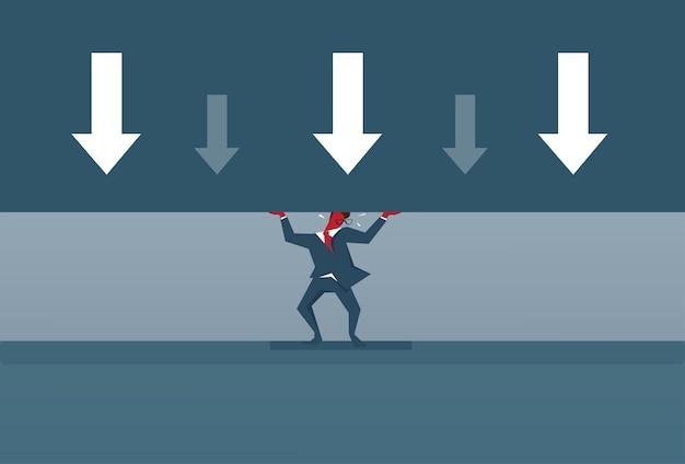 矢印ビジネスマンのダウン圧力