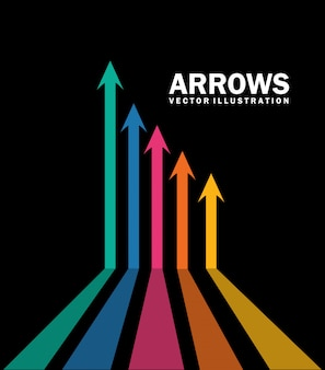 Arrows infographics  over black background