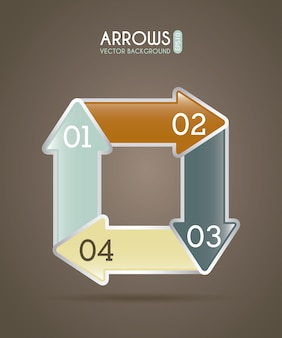 Arrows infographics over brown  background