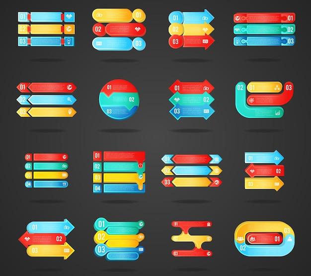 Insieme di elementi di infographics delle frecce