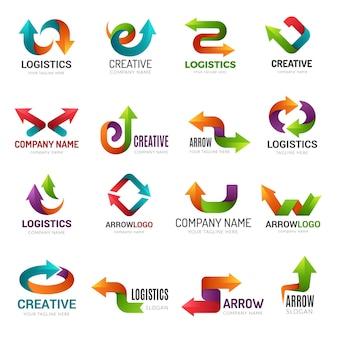 矢印のロゴタイプ。デジタルウェブの定型化されたシンボルは、ビジネスアイデンティティの幾何学的な形のベクトルの抽象的な矢印を方向付けます。イラストロゴトレンドポインター、トレンディなウェブ様式化されたロゴタイプ