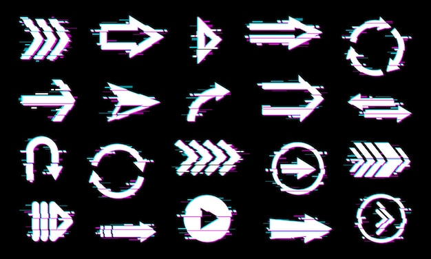 Arrows pointers, navigation elements with glitch effect.