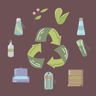 Arrows recycle and icons