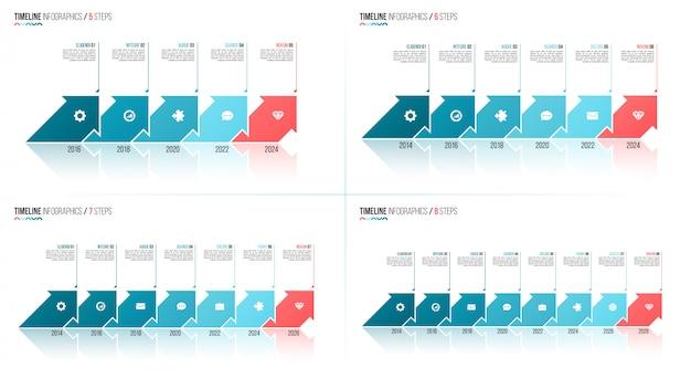 矢印形のタイムラインインフォグラフィックテンプレート。 5 6 7 8ステップ、オプション