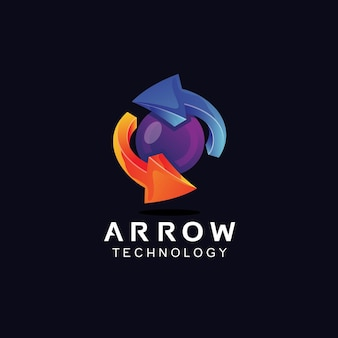 Arrows and sphere in 3d style logo