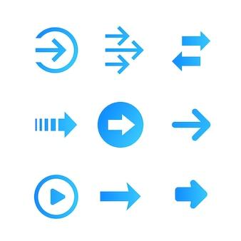 Arrows vector set, blue on white