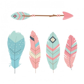 Arrows with feathers decoration boho style
