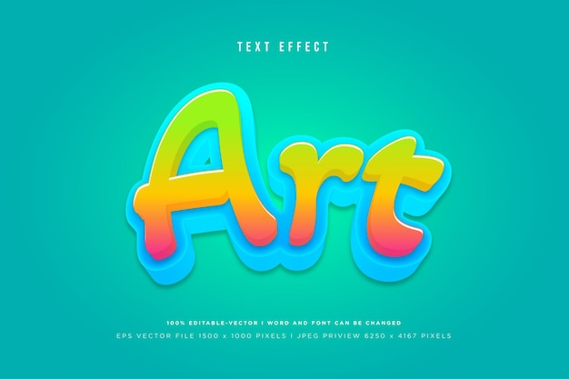 Art 3d text effect on green background