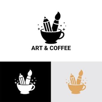 アートとコーヒーカップのロゴテンプレートプレミアムベクトル
