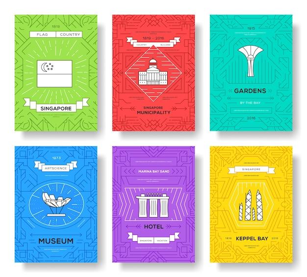 アート建築、本、ポスター、バナー、要素。伝統的なエスニックアウトラインパッケージグリーティングカード。
