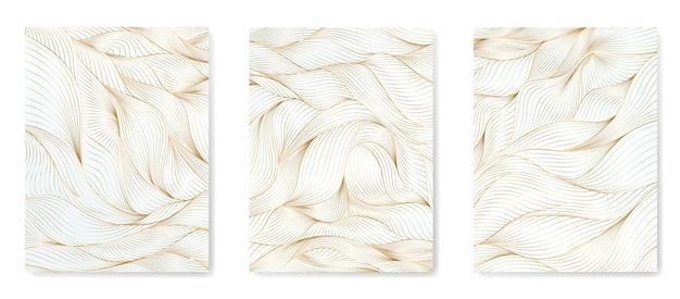 白い背景の上の抽象的な金の線でアートの背景。オリエンタルスタイルの装飾を飾るためのパターンの海の波。