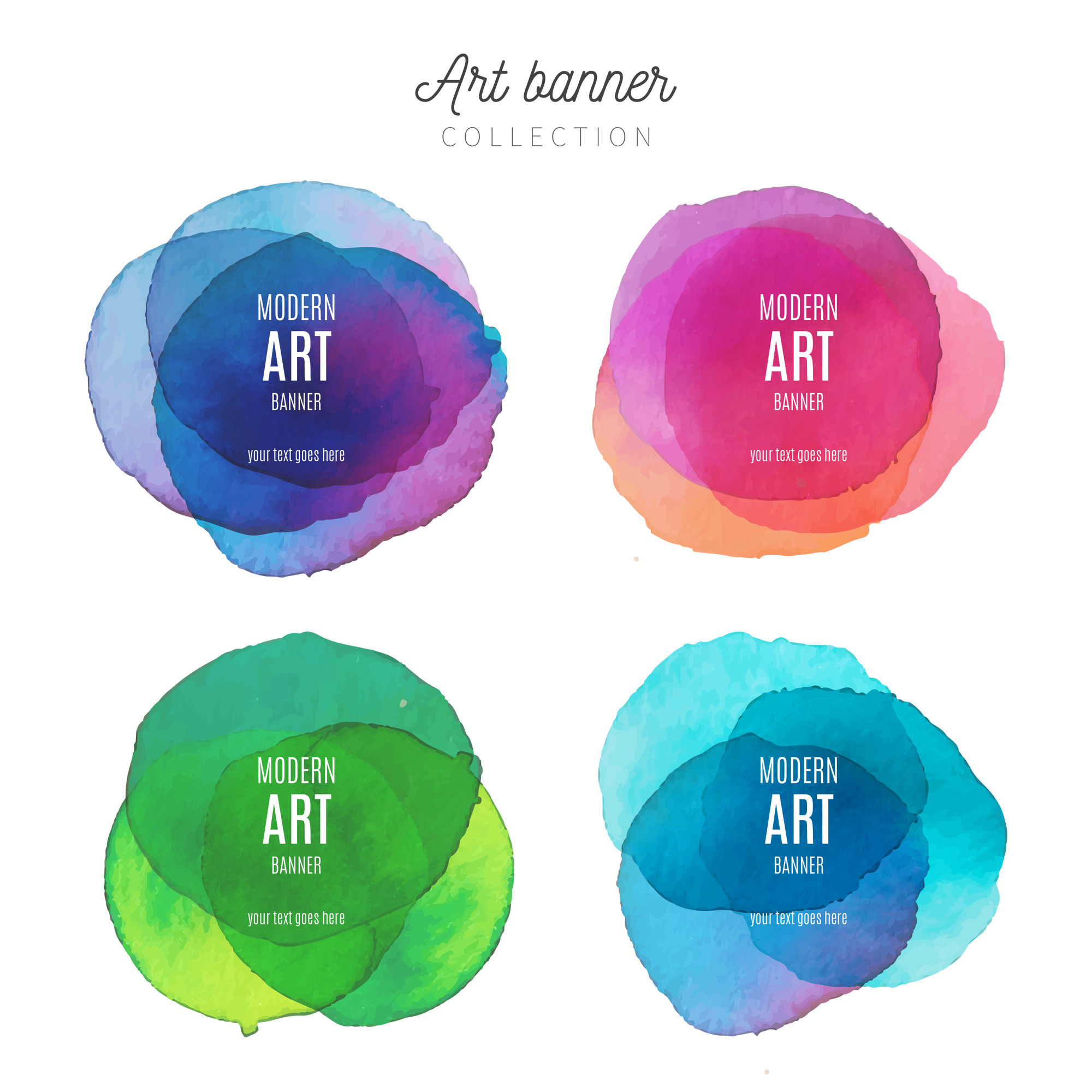 Art Banner Collection with Watercolor Splashes