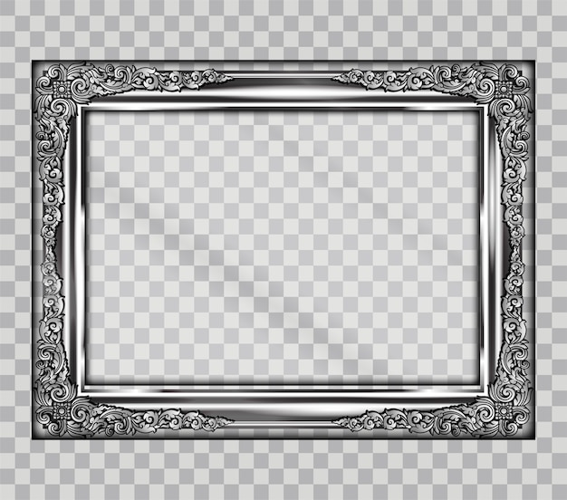 Art border of metal frame on transparency