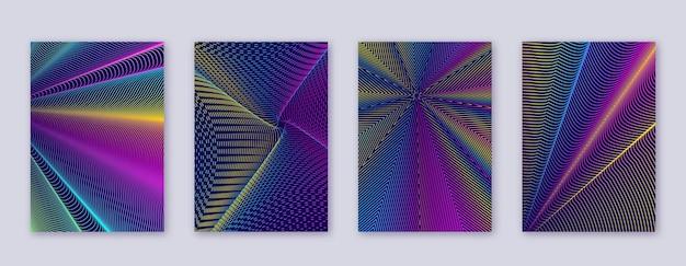 アート名刺。抽象的な線のモダンなパンフレットテンプレート。濃い青の背景に虹の鮮やかなグラデーションジオメトリ。素晴らしい表紙、パンフレット、ポスター、本など。