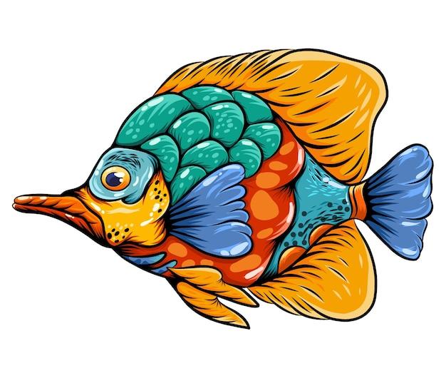 그것의 몸에 긴 입과 무지개 색깔을 가진 예술 나비 물고기 zentangle