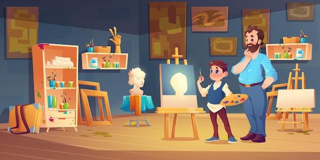 Сцена в художественном классе с ребенком, изучающим рисование при поддержке учителя