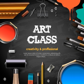 Art class, studio, course, school, education. banner or poster with black chalkboard background, hand drawn letters, pencil, brush, paints. .